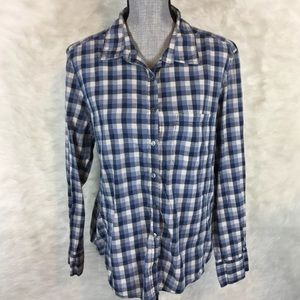 Caslon Blue Plaid Button Down Shirt Top Cotton